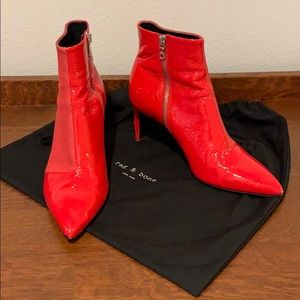 Rag and Bone Red Booties with stiletto heel